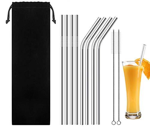 RVS Rietjes, Een Set van 8 Herbruikbare Voedselkwaliteit RVS Rietjes,4 Rechte 4 Bochten en 2 Reinigingsborstels - Ideaal voor Cocktails, Lange Dranken, Smoothies, Smoothies en Sappen (215 X 6 Mm)