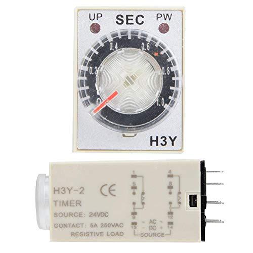 Temporizador de retardo H3Y-2 con relé de tiempo de marcación transparente 24V DC Interruptor de control de tiempo preciso 0-60S 8Pins(60S)