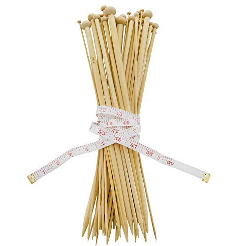 Celley 14 Inch Bamboo Knitting Needles Set | 18 Pairs Single Pointed Knitting Needle 36 pcs - 18 Sizes: 2mm – 10mm