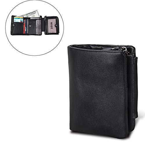 Nieuwe mannen portemonnee lederen korte portemonnee anti-RFID gestolen borstel mannen Zip portemonnee