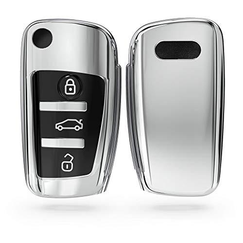 kwmobile Funda para Mando Compatible con Audi Llave de Coche Plegable de 3 Botones - Funda TPU Llave con Botones de Llave de Auto - Plateado Brillante