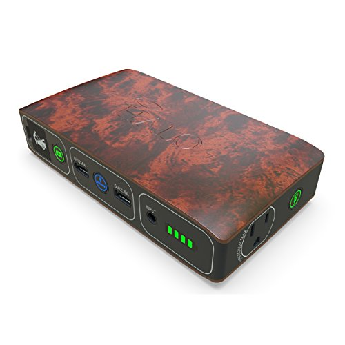 HALO Bolt 58830 mWh Portable Phone Laptop Charger Car Jump Starter with AC Outlet and Car Charger - Wood Grain