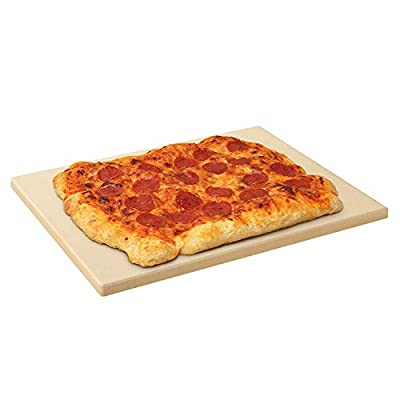 Arcedo Pizza Stone for Oven and Grill, Heavy Duty Ceramic Rectangular BBQ Pizza Pan, Therma Shock Resistant Pizza Grilling Stone, Perfect Baking Tool for Pizza, Bread, Pies and More, 15 x 12 Inch