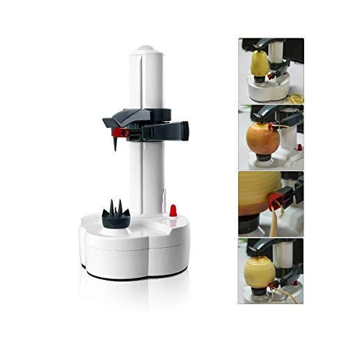 Apple Peeler–Pelapatate automatico multifunzione, con lama in acciaio inox elettrico, colore bianco