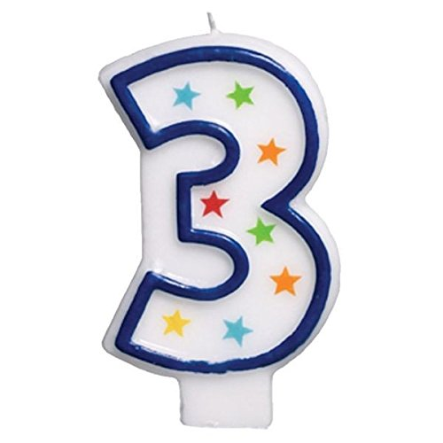 amscan #3 Flat Molded Candle |Birthday |Anniversary