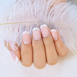 240Pcs 12 Different Size Natural French Medium Length False Nails Acrylic Full Cover Nails with Simple Case (Medium Length)