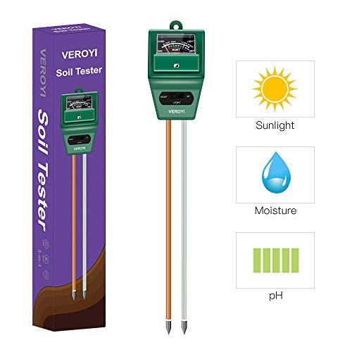 Veroyi Soil pH Meter, ST02 3-in-1 Soil Moisture pH Light Tester for Home, Garden, Lawn, Farm, Indoor Outdoor Plants (Green)