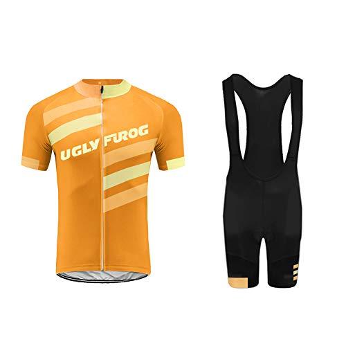 Uglyfrog Ropa Conjunto Traje Equipacion Ciclismo Hombre Verano con 3D Acolchado De Gel, Maillot Ciclismo + Pantalon/Culote Bicicleta para MTB Ciclista Bici DXMX07