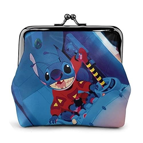 Lilo Cartoon Stitch cuero monedero beso cerradura monedero cerrado cartera señora chica mujer mujer lindo negro tarjeta de crédito bolso bolso