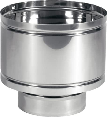Chimenea con sombrero cortavientos de barril de acero inoxidable AISI 304. Terminal de la chimenea con disco antilluvia (12 cm de diámetro).