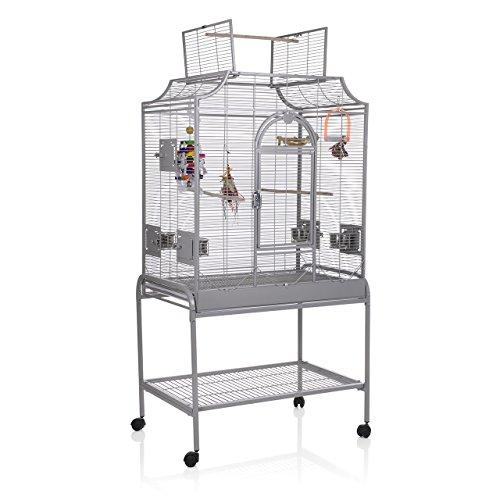 Montana Cages ® | Sittichkäfig, Käfig, Voliere, Vogelkäfig Madeira II - Platinum mit Ständer & Anflugklappe