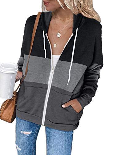 Dokotoo - Sudadera con capucha para mujer, manga larga con capucha, color liso, informal, primavera, otoño H Noir M