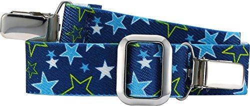 Playshoes Unisex Gürtel mit Clips, Sterne, elastisch,Blau (blau 7), 116-140