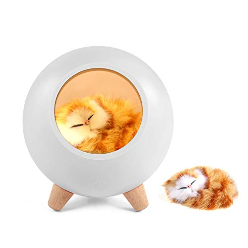 Cat Lover Gifts for Women, GoLine Cat Night Light for Wife Mom Teen Girls,Cute Cat House Birthday Gifts(White).