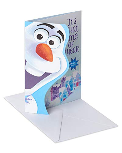 American Greetings Christmas Card for Kid with Stickers (Frozen, Olaf)