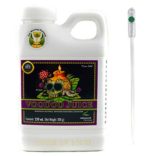 IVORYS-GARDEN Advanced Nutrients Voodoo Juice 250ml ml Hydrokultur Dünger Hydroponics + Dosier Pipette 3 ml für Kokos Faser Erde und Hydroponik Harvest Emerald Grow Bloom