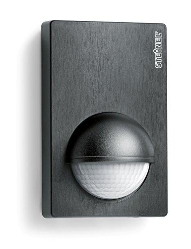 Steinel Bewegunsmelder IS 180-2 schwarz, 180° Infrarot Bewegungssensor, Dämmerungssensor für Innen- und Außenbereich