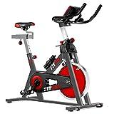 Fitfiu Fitness BESP-22 - Bicicleta indoor ergonómica con disco de inercia de 24 kg y resistencia regulable, Bici de entrenamiento fitness con sillín ajustable, pulsómetro y pantalla LCD