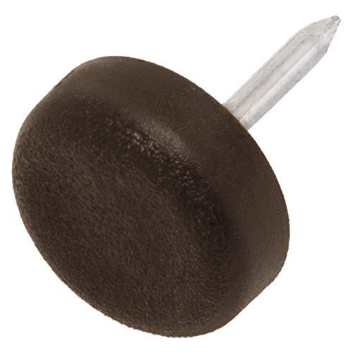 Adsamm 32 x Deslizante de plástico con Clavo | Ø 15 mm | marrón | Redondas | Patas de Muebles con Clavo de la máxima Calidad