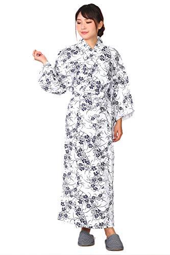 和ざらし 白地 ネイビー Mサイズ ガーゼ 寝巻き 婦人用 二重袷 綿100% お寝巻 ねまき パジャマ 浴衣 旅館 介護 女性 レディース