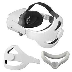 【Diseño único】: especialmente diseñado para Oculus Quest 2, este diseño ergonómico de correa para la cabeza resuelve perfectamente el problema de apretar la cara de la diadema Oculus Quest 2 original. Reemplazo para la correa Oculus Quest 2 Elite. 【D...