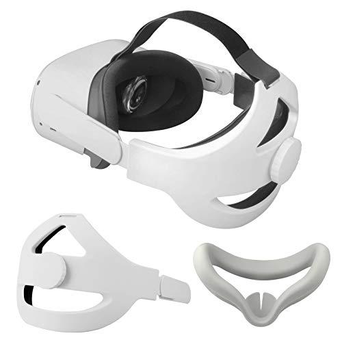 Correa para la Cabeza +Cubierta Facial para Oculus Quest 2 Reemplazo para la Oculus Quest 2 Elite Strap Reducir la Presión de la Cabeza Toque Cómodo Prueba de Sudor Accesorios de Oculus Quest 2 (Gris)