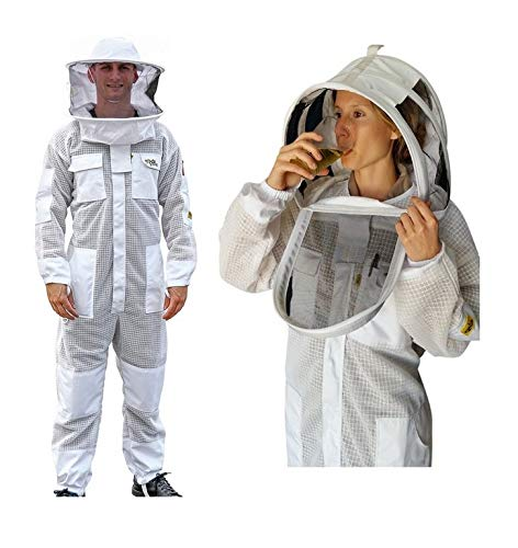 OZ ARMOUR Beekeeping Suit Ventilated ULTRA COOL Three Layer Mesh with Fencing Veil & Round Brim Hat