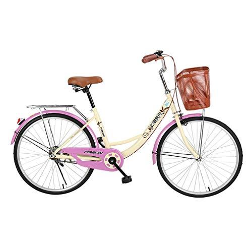 Multi-function trolley Bicicleta Vintage, Bicicleta Clásica, Bicicleta Retro, Bicicleta para Mujer, Bicicleta Cruiser con Rejilla Trasera Y Cesta para Manillar