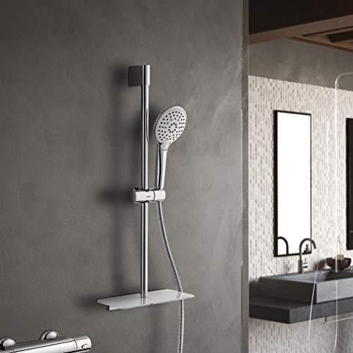 Lonheo Brausestangenset Duschsysteme Duschgarnitur mit 3 Strahlarten Handbrause, Edelstahl Duschset mit Ablage Inkl. Schlauch Brausehalterung Brause fürs Bad