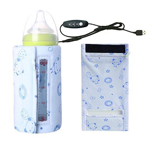 Portable Heizung Flaschenwärmer, Baby Flasche Isolierung AbdeckungTragbare USB Milchwärmer Heiztasche Beheizbar mit 3 Stufigen Temperaturregulierungen