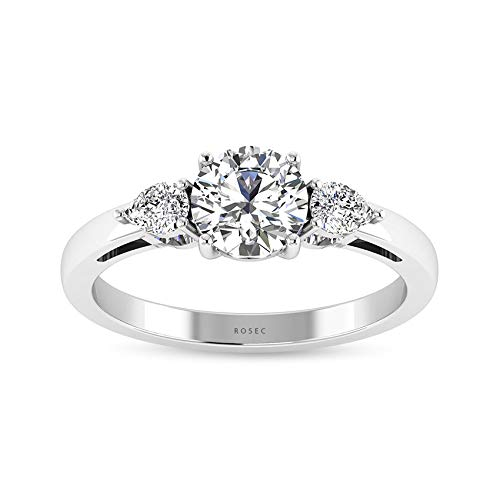 0.46 CT IGI Certified Three Stone Engagement Ring, Pear Shaped Round IJ-SI Diamond Trilogy Wedding Bridal Rings, Women Anniversary Promise Rings Gifts, 14K White Gold, Size:UK X1/2
