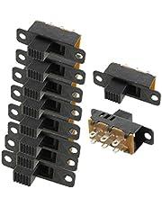 X-DREE 10 Pcs High alto rendimiento Knob 6 Pin esencial 3 Position DPDT Bie_n hecho Panel Slide Switch 0.5A 50V DC(a9f-a1-2a-925)