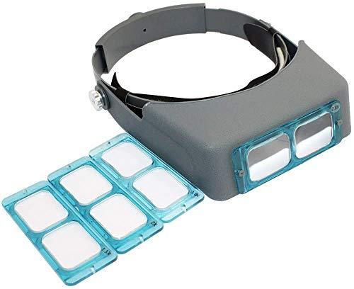 Wxxdlooa hoofdband vergrootglas sieraad vizier glas vergrootglas met lens -1.5X 2X 2.5X 3.5X vergroting, 4