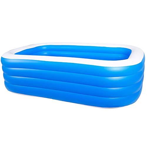 DAND Piscinas hinchables para adultos y niños, grandes piscinas rectangulares salón piscina piscina piscina centro de natación para verano al aire libre jardín familia, 260*160*75cm 4 layers