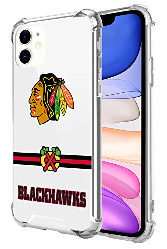 Clear Phone Case Compatible with iPhone 11 6.1 Inch, Crystal Shock Bumper Soft TPU & Hard PC Back Cover (Crossbar Series-Blackhawks)