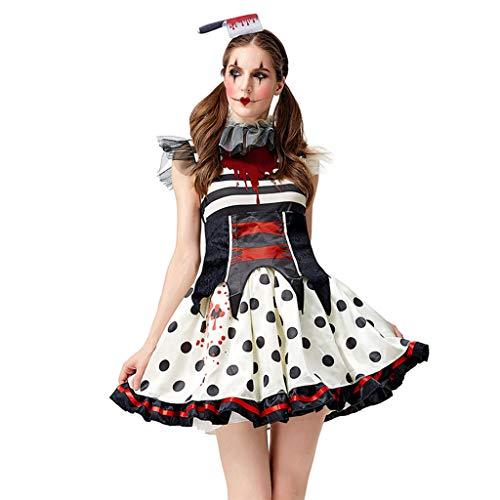 PHILSP Vestido Tutu Mujer Halloween Scary Bloody Payaso Tutu Vestido Set Circus Zombie Cosplay Disfraz S