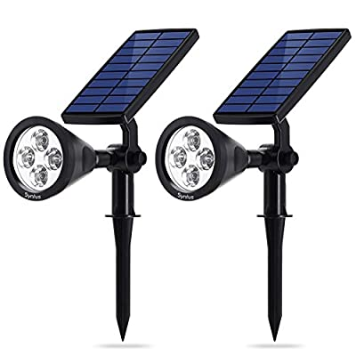 Syntus Upgraded Solar Lights Landscape Lighting LED Spotlight Waterproof Wall Sconces Security Night Light for Yard Garden Driveway Path, Pack of 2