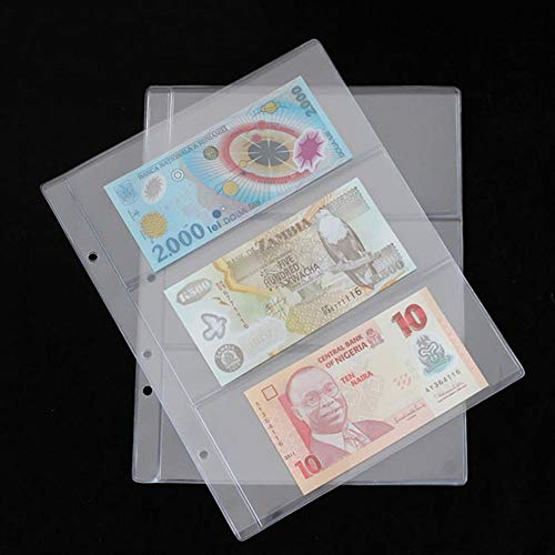180 * 80mm Money Holder Collection Album Pages Banknote Paper Collecting Holder Sleeves 3-slot Loose Leaf Sheet Album Protection