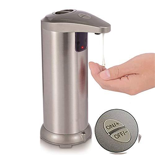 UNISOPH Dispensador de jabón, dispensador automático de jabón con sensor infrarrojo de acero inoxidable 250 ml
