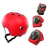 Kit De Protección, 7Pcs / Set Equipo De Protección para Niños Casco Ajustable Rodilleras Protectores De Muñeca Rojo Talla única