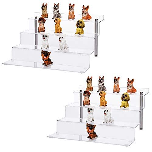 CECOLIC Acrylic Display Riser Stand 4 Steps Clear Display Stand Shelf for Collectibles Amiibo Pops Figures, Cupcakes, Perfumes - 2 Pack (12 x 11 x 6.3in)