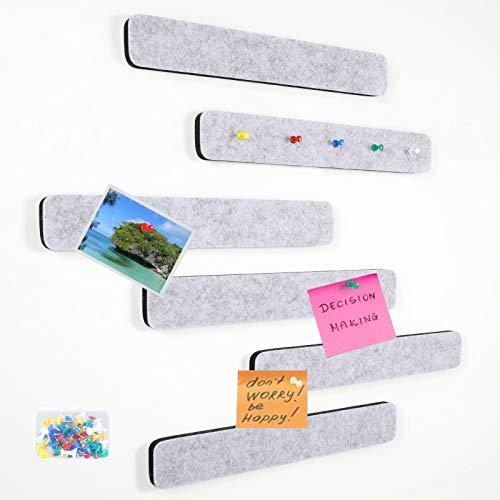 SUEH DESIGN Filz-Pinnwand Bar Streifen, Schwarzes Brett und Notizbrett für das Büro, Dekorative Pinnwand für Kinder 6er-Set mit 35 Druckstiften - 30 cm x 5 cm(Grau)