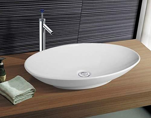 NEG Waschbecken Uno33A (groß/oval) Aufsatz-Waschschale/Waschtisch (weiß) mit flachem Rand und Nano-Beschichtung