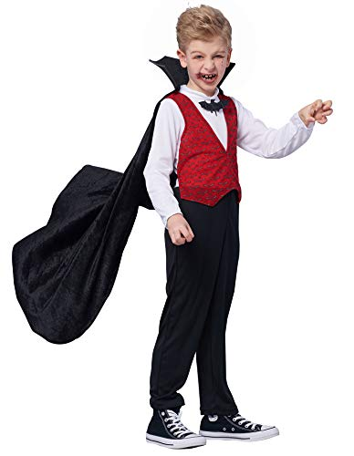 IKALI Disfraz de Vampiro para niño,Halloween Dracula Capa Vestido