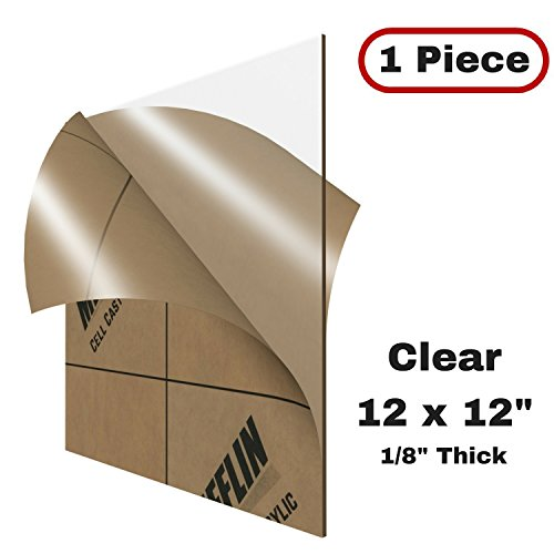 "MIFFLIN Cast Plexiglass Sheet (Transparent Clear, 1 Piece, 12x12 Inch, 0.118"" (1/8 in) Thick), Acrylic Sheet, Plexi Glass, Plastic Sheet, Clear Plastic Sheet, Cast Acrylic Plexiglass Square"