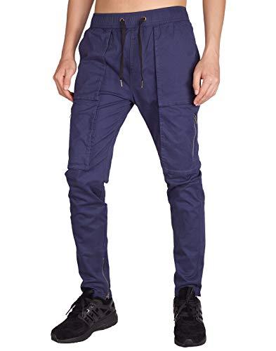 ITALY MORN Pantalones Cargo Hombre Montaña Azul Baggy Múltiples Bolsillos (S, Medianoche Azul)