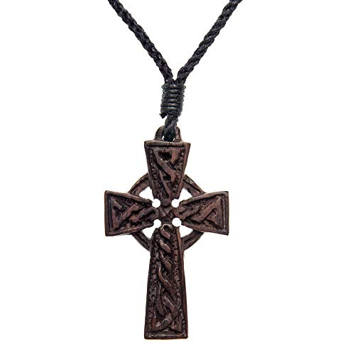 81stgeneration Women's Men's Wood Celtic Irish Cross Religious Charm Pendant Necklace
