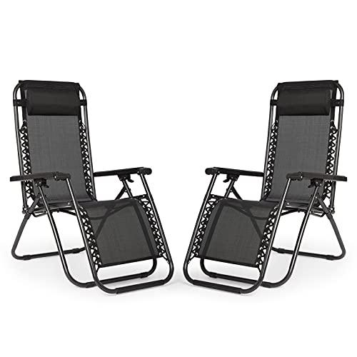 IntimaTe WM Heart Chaise de Camping Chaise de Jardin Confortable Chaise Longues Pliantes de l'Extérieur, Lot de 2 Chaises de Jardin, Respirantes et Confortables avec l'Appui têtes (Noir)