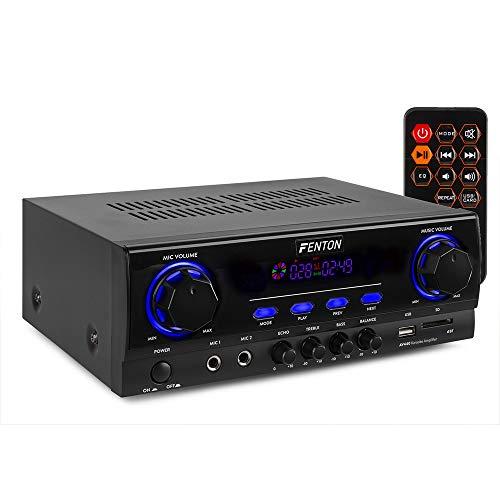 Fenton AV440 – Amplificateur numérique karaoké avec Bluetooth, Puissance de 400W, Lecteur MP3 intégré, 2 entrées Microphone, livré avec télécommande, idéal pour Vos soirées karaoké
