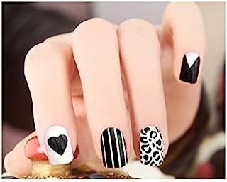 TBOP FAKE NAIL art reusable French long Artifical False nails 24 pcs set in Black and White color